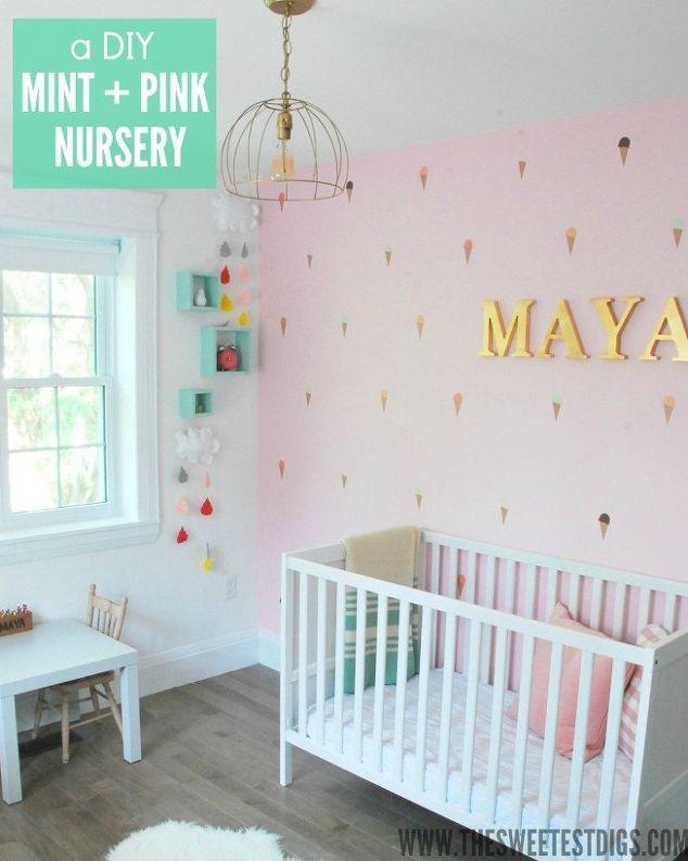 a diy mint pink nursery bedroom ideas wall decor - Wall Decor Bedroom Ideas