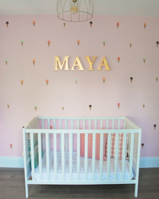 A Diy Mint Pink Nursery Hometalk Saveenlarge Mural Baby Room Wall Decor