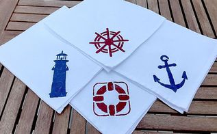 easy diy nautical cloth napkins, crafts, dining room ideas, how to, reupholster