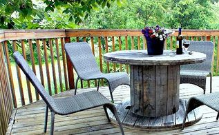 wooden spool as patio table, outdoor furniture, outdoor living, repurposing upcycling