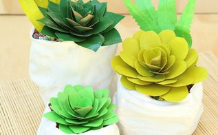 duct tape succulents and faux pinch pots, crafts, diy, flowers, home decor, succulents