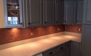diy kitchen copper backsplash, decoupage, kitchen backsplash, kitchen design, repurposing upcycling, Painted cabinets new hardware and backsplash
