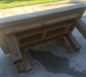 Diy Back Yard Coffee Table Top Made Of Concrete With Crushed Wine Bottles,  Concrete Masonry
