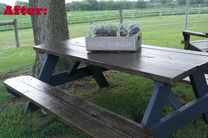 Wooden Picnic Table Makeover Hometalk