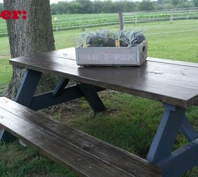 Lovely Wooden Picnic Table Makeover, Outdoor Furniture, Outdoor Living, Painted  Furniture