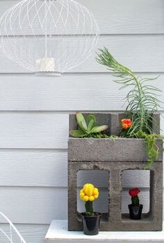 cinder block cacti planter, concrete masonry, container gardening, gardening, repurposing upcycling