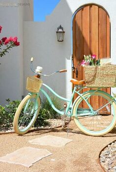diy seagrass bicycle basket, crafts, outdoor living, seasonal holiday decor