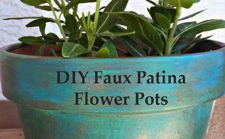 diy faux patina flower pots, container gardening, crafts, flowers, gardening