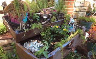 frugal fairies created a delightful space in my herb garden, container gardening, gardening, repurposing upcycling