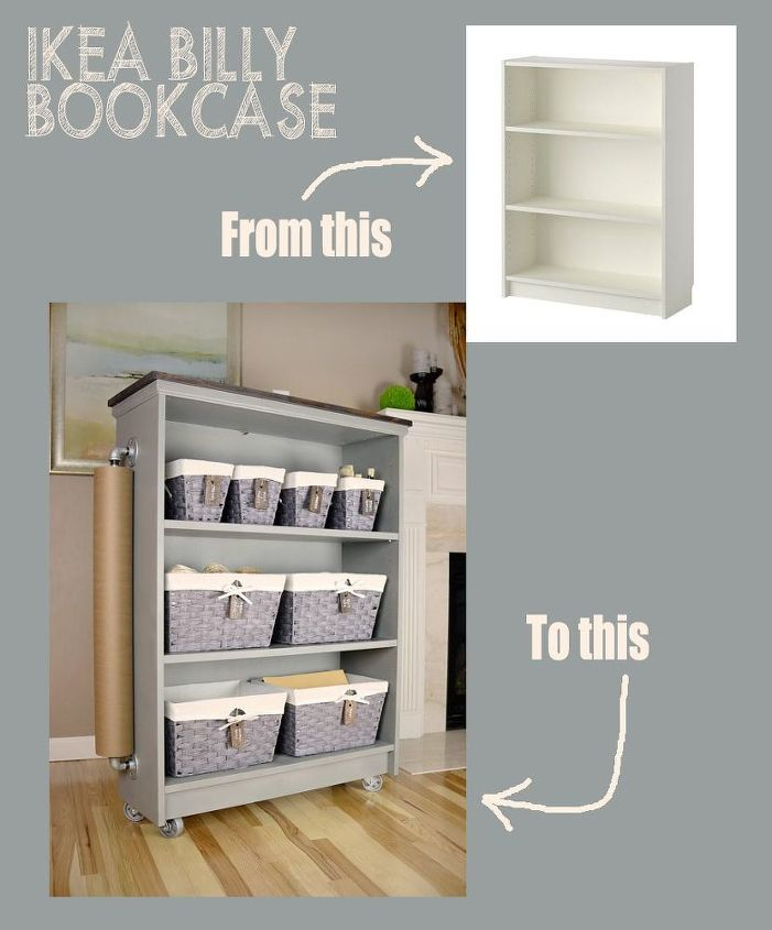 From Ikea Billy Bookcase To Craft Cart Hometalk