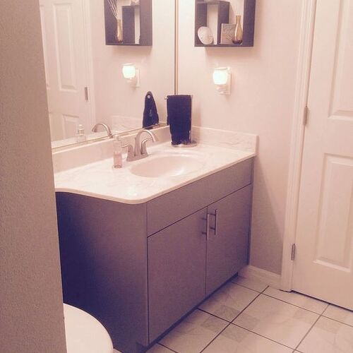 Painting Over Laminate Bathroom Cabinets chalk paint over latex on laminate | hometalk