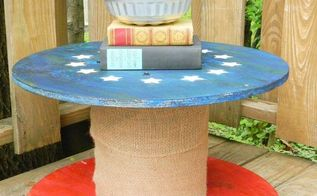 electrical spool upcycled into patriotic plant stand summergarden, container gardening, gardening, patriotic decor ideas, repurposing upcycling, seasonal holiday decor