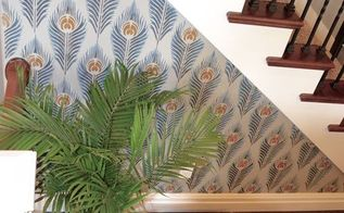 a peacock feather allover stenciled accent wall, living room ideas, painting, wall decor