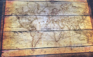 vintage map pallet sign, crafts, decoupage, pallet, repurposing upcycling, wall decor, woodworking projects