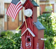 patriotic birdhouse, crafts, outdoor living, patriotic decor ideas, pets animals, seasonal holiday decor