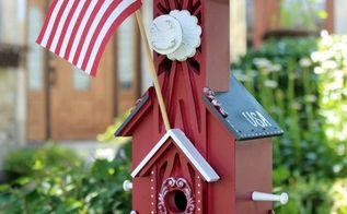 patriotic birdhouse, crafts, outdoor living, patriotic decor ideas, pets animals, seasonal holiday decor