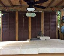 adding privacy to pergula with repurposed bifoldlouvered doors, doors, outdoor living, repurposing upcycling