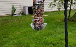 birdfeeder out of recycled water bottle, outdoor living, pets animals, repurposing upcycling