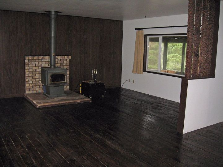 Hardwood Floor Wall Panelling And Fireplace Makeover