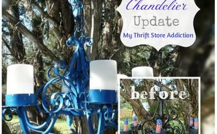outdoor chandelier update, lighting, outdoor living, patriotic decor ideas, repurposing upcycling, seasonal holiday decor