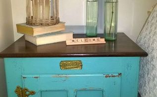 upcycling a white clad icebox with stain and homemade chalk paint, chalk paint, painted furniture, repurposing upcycling, rustic furniture, storage ideas