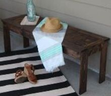 west elm knock off diy outdoor slat bench, diy, outdoor furniture, painted furniture, rustic furniture, woodworking projects