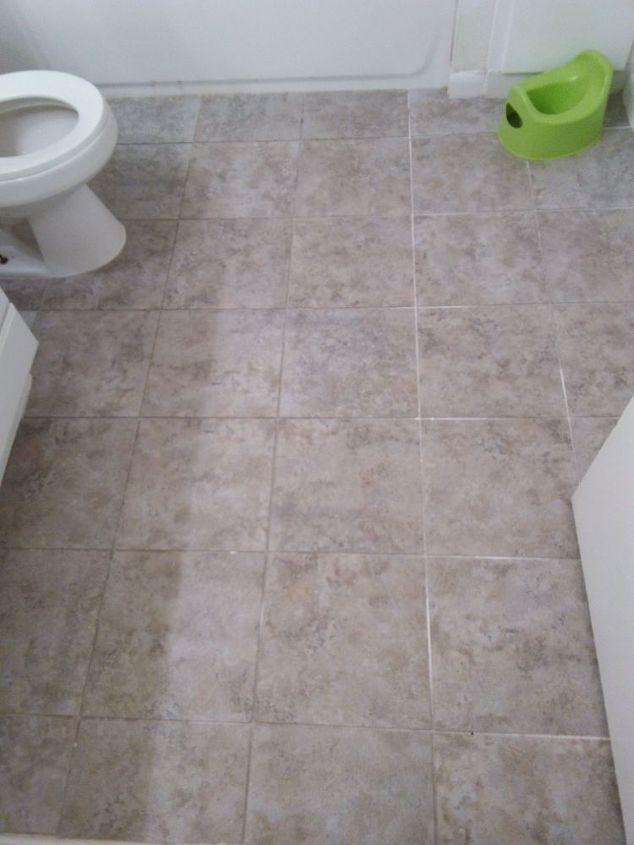 Bathroom floor update for 30 budget and renter friendly hometalk for Bathroom floors without grout