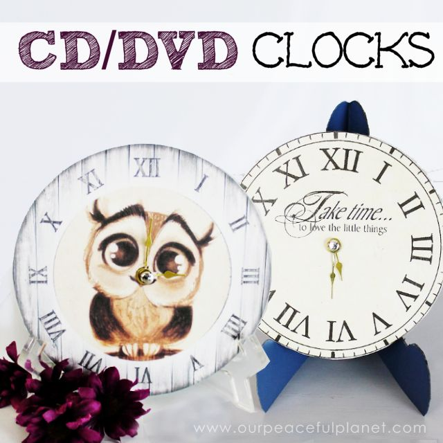 How to make small clocks from dvd cds hometalk for Small clocks for crafts