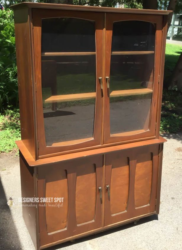 mid century hutch makeover, decoupage, painted furniture - Mid Century Hutch Makeover Hometalk