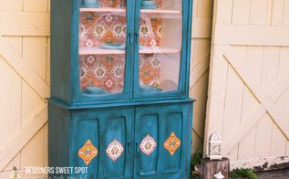 mid century hutch makeover, decoupage, painted furniture