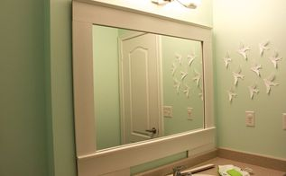 diy builder grade bathroom mirror makeover, bathroom ideas, home decor, how to