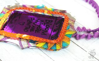 stamped and painted mirror diy gift tag a clearsnap clear scraps h, crafts, how to, repurposing upcycling