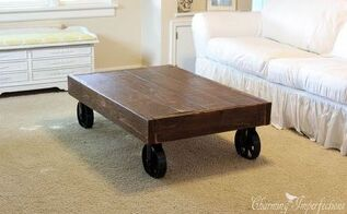 diy industrial cart coffee table, diy, how to, painted furniture, woodworking projects