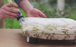 how to paint a fabric chair upholstered furniture painting tutorial, how to, painted furniture, reupholster, Step 4 Apply your first coat