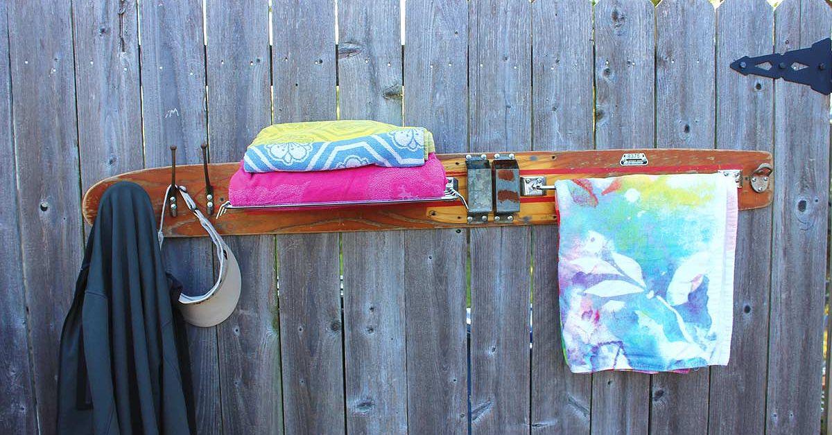 Repurposed Water Ski To Towel Rack With Shelf Amp Bottle