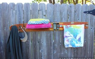 no 3 repurposed water ski to towel rack with shelf bottle opener, outdoor living, repurposing upcycling, shelving ideas, storage ideas