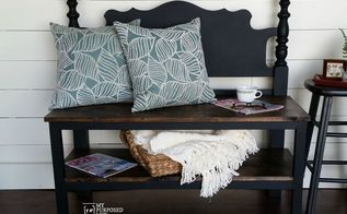 repurposed headboard to bench, outdoor furniture, painted furniture, repurposing upcycling