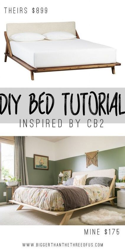Diy mid century modern inspired bed hometalk - How to build a modern bed frame ...
