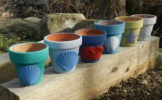 painted garden terracota pots, chalk paint, container gardening, crafts, gardening, repurposing upcycling