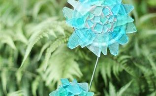diy sea glass garden ornament, crafts, gardening, how to, repurposing upcycling
