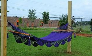 poles used for hammock and clothesline, outdoor living