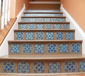 Stair Riser Stencil With Tuscan Tile Design, Flooring, Home Decor, How To,