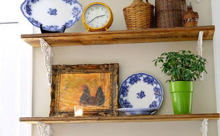 rustic shelves add warmth to a white kitchen, kitchen design, repurposing upcycling, rustic furniture, shelving ideas