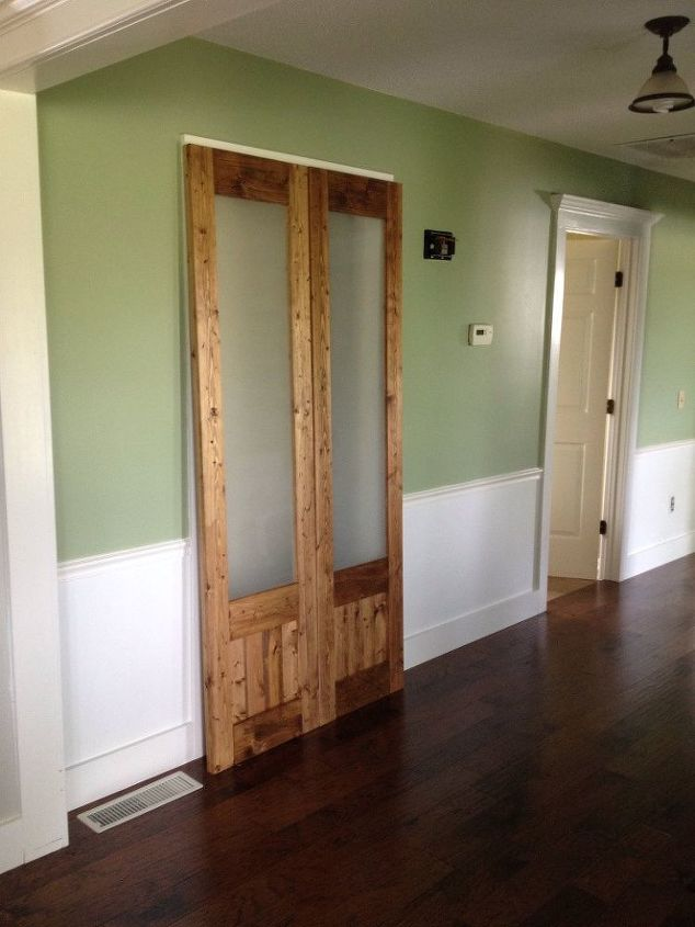 Dress up the mess sliding doors to laundry room hometalk for Laundry room sliding doors