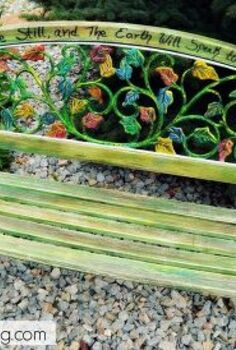 a colorful take on a repurposed bench, outdoor furniture, repurposing upcycling