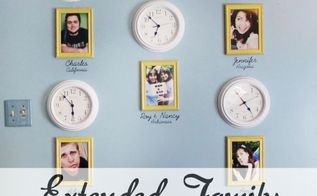 time zone wall for extended family, repurposing upcycling, wall decor