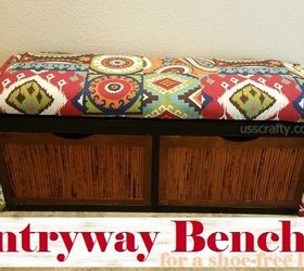 upcycled entryway storage bench painted furniture repurposing upcycling reupholster