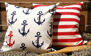 crafting nautical accent pillows using stencils, bedroom ideas, crafts, how to, reupholster