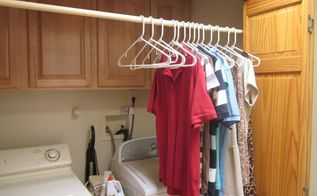 laundry closet update with shower and curtain rods, closet, laundry rooms, repurposing upcycling
