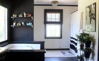 a black white and vintage master bathroom, bathroom ideas